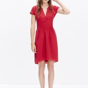 Madewell Red Silk Fable Dress 4